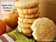 Apple Cider Shortbread Cookies ~ 1 cup Butter, (softened), 6 tbsp Granulated Sugar, 1 tbsp Instant Hot Apple Cider Mix, 2 tsp Vanilla, ¼ tsp Salt,  2 cups All-Purpose-Flour, 1 tbsp Milk, 1 cup Turbinado Sugar, (raw).
