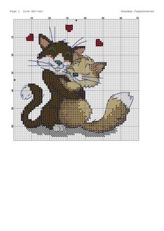 Cats hugging in love Cat Cross Stitches, Cross Stitch Baby, Cross Stitch Animals, Cross Stitch Kits, Cross Stitch Charts, Cross Stitch Designs, Cross Stitching, Cross Stitch Embroidery, Hand Embroidery