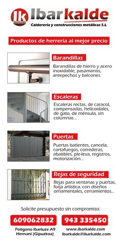Flyer publicitario de Ibarkalde S.L para promocionar sus servicios de herrería. #herrería #hernani #gipuzkoa #escaleras #barandillas #cerramientos #puertas #soportes