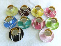 Cmielow Porcelain Vintage Art Deco Cups and Saucers, Set of Ten Art Deco Pattern, Polish Pottery, Modern Ceramics, Vintage Pottery, Cup And Saucer Set, Teacups, Cutlery, Poland, Vintage Art