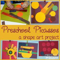 Preschool Picassos - Shape Art Project - from Play to Learn Preschool
