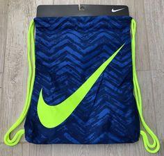 Nike Swoosh Drawstring Sports Training Gym Yoga Sack Backpack Bag Blue Volt NWT #Nike #Backpack