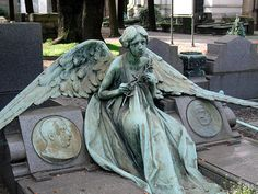 Image detail for -Sad angel by Cat in Cemeteries, Milan Monumental Cemetery - The . Cemetery Angels, Cemetery Statues, Cemetery Headstones, Old Cemeteries, Cemetery Art, Angel Statues, Graveyards, Cemetery Monuments, Angels Among Us
