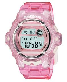 Get in the clear with this sport-ready and translucent watch from Baby-g. Clear pink resin strap and round case. Shock-resistant, digital-display dial with backlight, world time, counter, alarms, coun