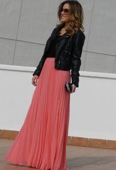 Leather + pleated maxi skirt