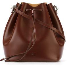 Nº21 Drawstring Bucket Shoulder Bag ($415) ❤ liked on Polyvore featuring bags, handbags, shoulder bags, red, drawstring purse, drawstring shoulder bag, drawstring handbag, red purse and red shoulder bag