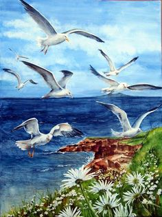 mittel Aquarell – Malerei – Hélène Charland – Ljiljana Milenkovic – Join the world of pin Art Watercolor, Sea Art, Coastal Art, 5d Diamond Painting, Seascape Paintings, Painting Art, Bird Pictures, Sea Birds, Wildlife Art
