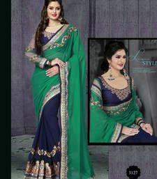 Buy green embroidered zari work  georgette saree with blouse wedding-saree online