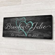 Family Established Wood Sign Personalized Wedding or Anniversary Gift. Personalized wedding and anniversary gifts are great for many reasons, one being that they often become treasured family heirloom Family Wood Signs, Diy Wood Signs, Family Name Signs, Custom Wood Signs, Family Names, Pallet Signs, Wooden Name Signs, Personalized Wedding Gifts, Personalized Signs