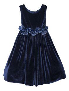 Sleeveless Velvet Dress with Rose Sash Detailing