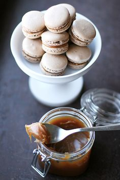 Chocolate and salted butter caramel macarons! would love to have these on the dessert buffet!