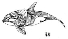 whale line drawing embroidery pattern | eileen kokasih