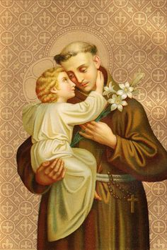 Beautiful St. Anthony image, probably from a holy card -- no artist information