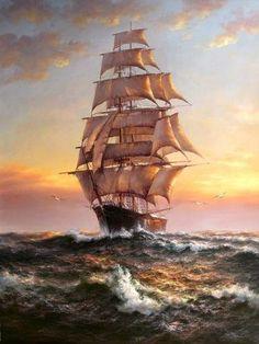 Tall Ship Seascape Olja på Duk Oil on Canvas LAST ONE!