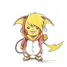 Pikachu wearing a Raichu Onsie by *BirdychuArt on deviantART. POKEMON. Pinned from Stephy Sama