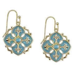 1928 Jewelry Domenica GoldTone Turquoise Enamel Drop Earrings *** Click image to review more details.