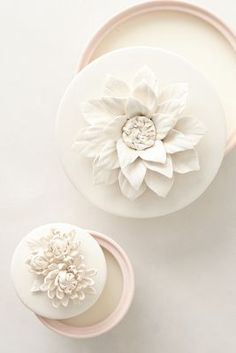 Prettiest little candles, lidded porcelain dishes can be used for jewelry/trinkets once candle is gone. Both smell divine.