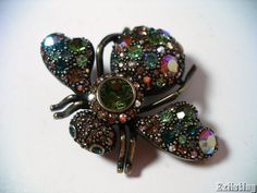 Joan Rivers Bumble Bee Pin Brooch Multi-Color Crystals Jewelry Retired #JoanRivers