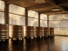 Image 14 of 42 from gallery of Winery Gantenbein / Gramazio & Kohler + Bearth & Deplazes Architekten. Photograph by Ralph Feiner Winery Tasting Room, Brick Detail, In Vino Veritas, Hotel Interiors, Tile Patterns, Wine Cellar, Lighting Design, Architecture Design, Interior Design