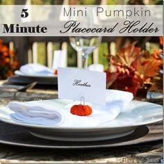 5 Minute Mini Pumpkin Placecard Holder DIY