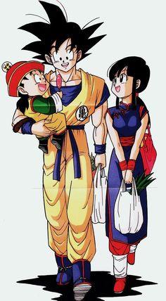 Goku, Chi Chi, and Gohan