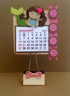 Chipboard Coaster Mermaid Calendar with paper clamp stand.