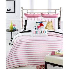 kate spade new york Harbour Stripe Shocking Pink King Comforter Set ($260) ❤ liked on Polyvore featuring home, bed & bath, bedding, comforters, shocking pink, pink king size comforter set, kate spade comforter, king size comforter set, king comforter and pink king comforter set