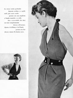 La Donna - Italian Fashion Magazine - 1952  - Halter Neck Summer Dress