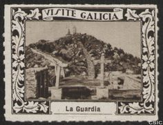 La Guardia (Pontevedra) : [Viñeta con imagen de la construcción de la Ermita de Santa Tecla con el monte detrás] / [fotógrafo, Luis Casado Fernández].