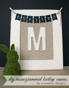DIY Monogrammed Burlap Canvas #mpinterestparty
