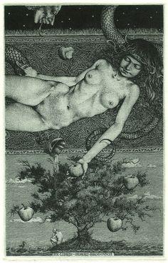 Konstantin Kalinovich, Adam's Dream, Ex Libris Ex Libris, Gravure Photo, Illustration Art, Illustrations, Occult Art, Scratchboard, Adam And Eve, Art Graphique, Erotic Art