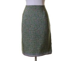 Old Navy Green Pink Blue Vintage Paisley Print Silk Lined Straight Skirt Size 12 #OldNavy #Straight