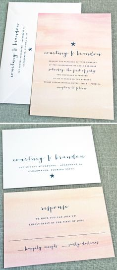 NEW Courtney Watercolor Sunset Beach Wedding Invitation