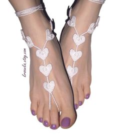Barefoot Sandals WHITE Heart, Valentine's Day gift, beach wedding accessory
