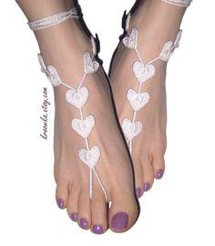 Barefoot Sandals WHITE Heart, Valentine's Day gift, beach wedding accessory