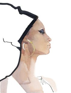 Week 3/ Gouache/ David Downton/ Watered down gouache adds depth and texture. This quality of line is aesthetically interesting in contrast with the thick black gouache line.