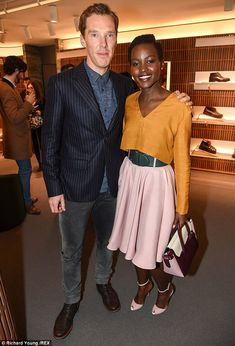 Co-star catch-up: Lupita Nyong'o and Benedict Cumberbatch enjoyed a catch up at the Bally store opening in London on Wednesday night