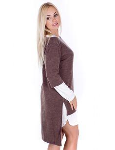 Стильное женское платье-двойка, состоящее из платья-основы и туники. Платье с длинными рукавами и декоративными вырезами на плечах, по бокам выполнены вырезы. Туника с асимметричной линией низа, дополнена боковыми разрезами, горловина — лодочка. Рост модели на фото 173 см.