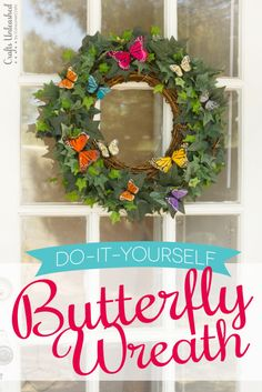 Welcome your guests with this friendly Butterfly Wreath! Make a large wreath with only a small grapevine wreath and a few vines of artificial ivy!