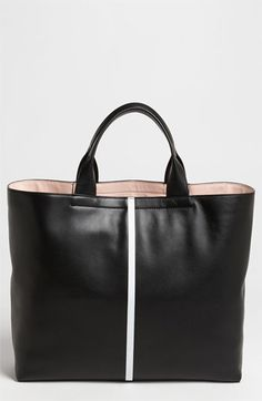 $1,390, Black Leather Tote Bag: Reed Krakoff Track Glazed Leather Tote Black. Sold by Nordstrom. Click for more info: https://lookastic.com/women/shop_items/138169/redirect