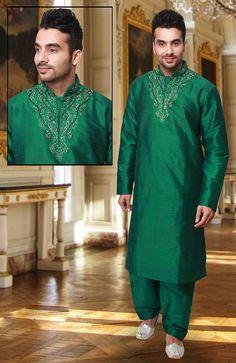 Dashing Green Kurta Pyjama set