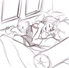 Adrienette en la cama