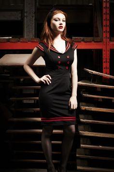 Bunny - 50s Horizon Nautical pencil dress in Red Black. Really cute. #topvintage @TopVintage Retro Boutique