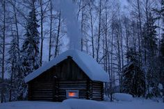 Tiny house in winter.