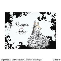 Elegant Bride and Groom Invitation Wedding Illustration, Couple Illustration, Elegant Couple, Elegant Bride, Elegant Invitations, Wedding Invitation Cards, Simple Elegance, Wedding Couples, Wedding Gowns