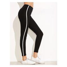 Black Striped Side Leggings ($6.99) ❤ liked on Polyvore featuring pants, leggings, striped pants, legging pants, stripe leggings, stripe pants and striped trousers
