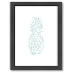 Americanflat Pineapple Framed Wall Art (87 CAD) ❤ liked on Polyvore featuring home, home decor, wall art, mint, framed wall art, vertical wall art and pineapple home decor