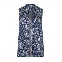 Camicia stampata, senza maniche con collo a fascetta.5Q86SQ177 BLUE