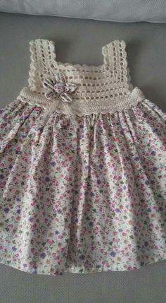 Frock Patterns Baby Patterns Crochet Patterns Crochet Dress Girl Knit Dress Crochet For Kids Crochet Baby Heirloom Sewing Baby Dress Crochet Yoke, Crochet Diy, Crochet Fabric, Cotton Crochet, Crochet Dress Girl, Crochet Girls, Crochet Baby Clothes, Crochet For Kids, Crochet Baby Dresses