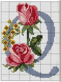 Rose with yellow flowers alphabet Q Cross Stitch Alphabet Patterns, Embroidery Alphabet, Cross Stitch Letters, Modern Cross Stitch Patterns, Hand Embroidery Patterns, Cross Stitch Charts, Cross Stitch Designs, Cross Stitching, Cross Stitch Embroidery